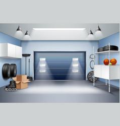 garage interior realistic composition vector image