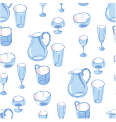 glassware jug and glasses for beverages seamless vector image