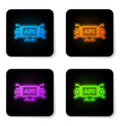 glowing neon computer api interface icon isolated vector image