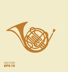 golden french horn icon flat icon with scuffed vector image