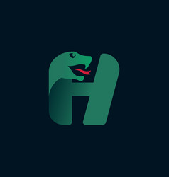 H letter logo with snake head silhouette vector