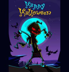 Halloween scary pumpkin scarecrow for halloween vector