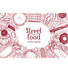 hand drawn fast food banner street food top view vector image
