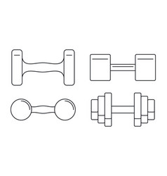 Hand dumbell icon set outline style vector
