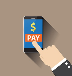hand of businessman touching mobile payment vector image