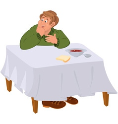 Happy cartoon man eating soup at the table vector image