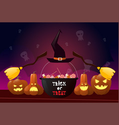 happy halloween party banner pumpkins with witch vector image