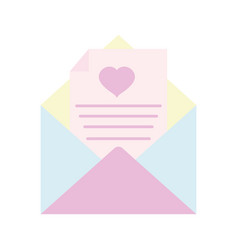 happy valentines day open envelope message paper vector image