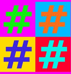 Hashtag and pop-art vector