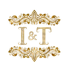 I and t vintage initials logo symbol the letters vector