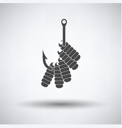Icon of worm on hook vector