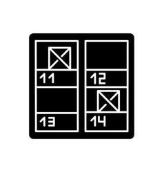 Inventory control black glyph icon stock checking vector