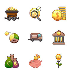 investment icons set cartoon style vector image