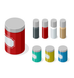 isometric set variety spices in glass vector image