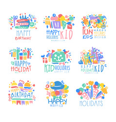 Kid holidays happy birthday logo template vector
