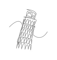 leaning tower of pisa - black one continuous line vector image