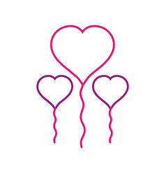 Line balloons to shape heart design decoration vector