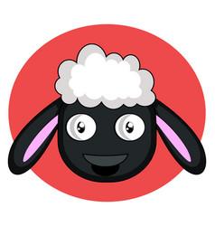 little cartoon black sheep on white background vector image