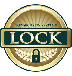 lock gold label vector image