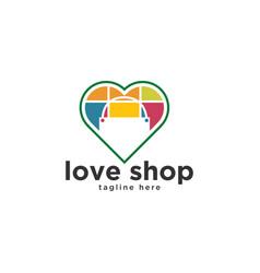 love shop bag logo design inspiration vector image