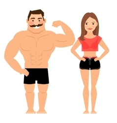 Man and woman muscular couple vector