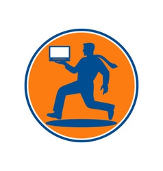 Man carrying notebook laptop computer running vector