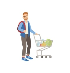 Man With Backpack Shopping For Food In Supermarket vector image