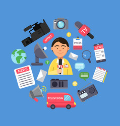 Media concept with picture of journalist and vector