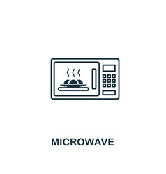 microwave icon thin style design from household vector image