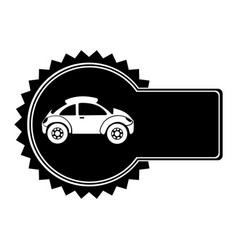 Monochrome circular emblem with sports car in side vector