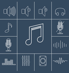 Music outline icons set linear vector