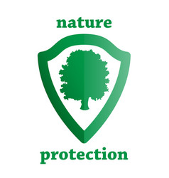 Nature protection shield with a tree vector