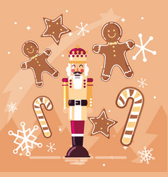 Nutcracker king with ginger cookie and cane vector