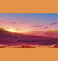 Open cast mining quarry at sunset vector