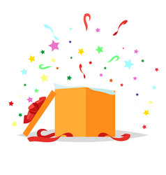Open gift box holiday collection vector
