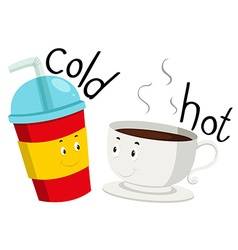 Opposite adjective cold and hot vector