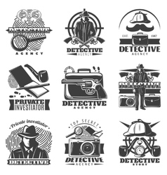 Private Investigator Labels Set vector