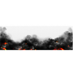 realistic smoke with fire glow or sparks border vector image