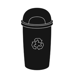 Recycle garbage can icon in black style isolated vector image