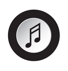 round black white button icon - musical note vector image