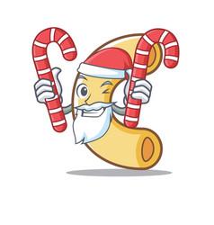 Santa with candy macaroni mascot cartoon style vector