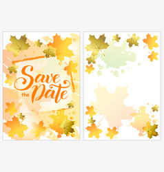 Save the date with orange and golden maple leaves vector
