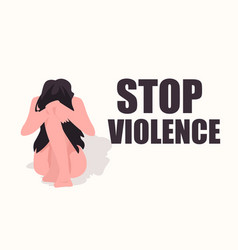 Scared terrified woman crying stop violence vector