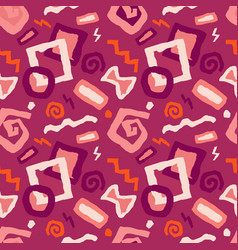 seamless doodle art pattern in red vector image