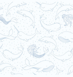 seamless pattern with whales mermaids narwhals vector image