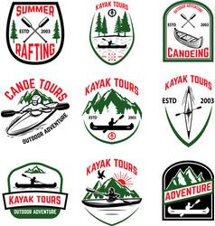 Set kayak tours emblems kayaking canoeing vector