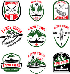 Set of kayak tours emblems kayaking canoeing vector