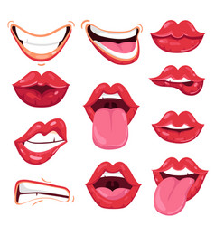 set of playful cartoon red lips vector image