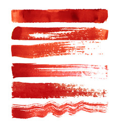 Set of red brush strokes vector