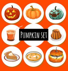 Set of ripe pumpkins food and jack-o-lantern vector